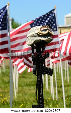 Vintage Vietnam era helmet at a celebration of Veterans of Foreign Wars in Sutherlin Oregon - stock photo