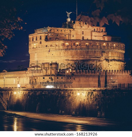 Vintage view of Castel Sant'Angelo, Rome. - stock photo