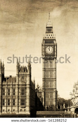 Vintage view of London, Big Ben  - stock photo