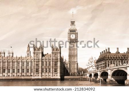 Vintage view of London, Big Ben & Parliament - stock photo