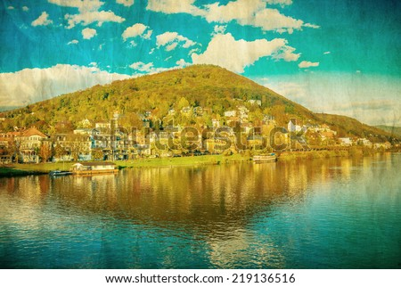 Vintage view to old town of Heidelberg, Germany  - stock photo