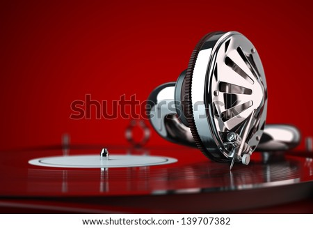 Vintage vinyl player - stock photo