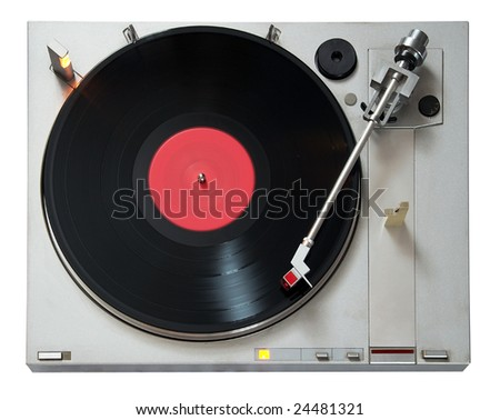 Vintage Vinyl player isolated on white background with clipping path - stock photo