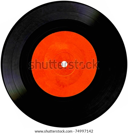 Vintage vinyl record isolated on white - stock photo