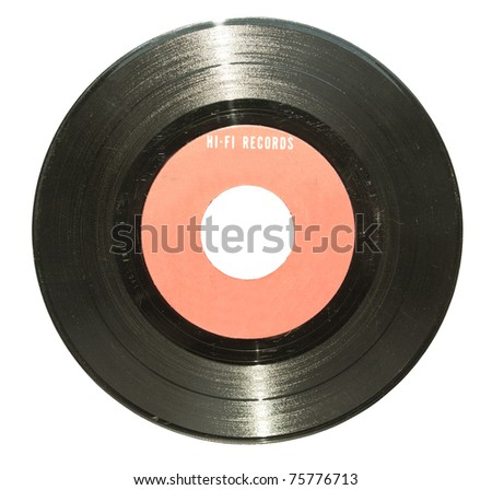 Vintage vinyl record with red label isolated on white - stock photo