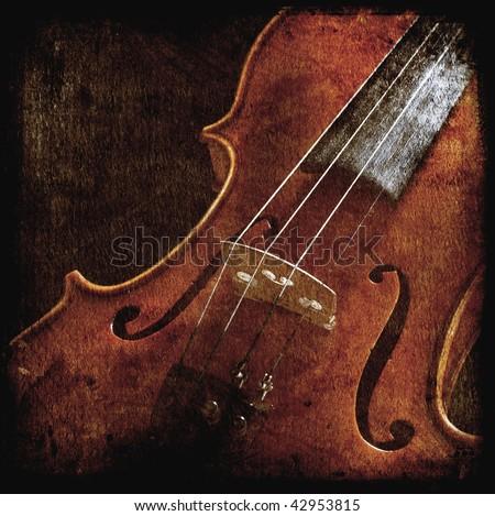 vintage violin in the dark - stock photo