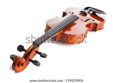Vintage Violin Isolated Isolated On White Background - stock photo