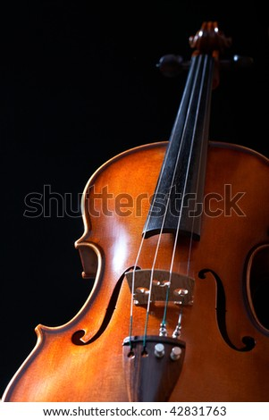 vintage violin over dark background - stock photo
