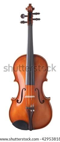 vintage violin over white background - stock photo