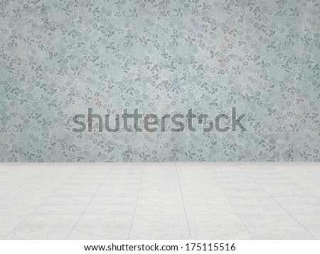 vintage wall and marble floor - stock photo