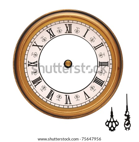 vintage wall clock isolated on white background - stock photo