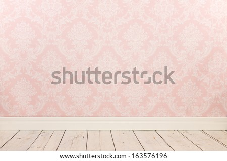 Vintage wall, wooden floor and plinth - stock photo