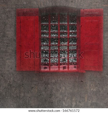 vintage wallpaper background with Christmas window - stock photo