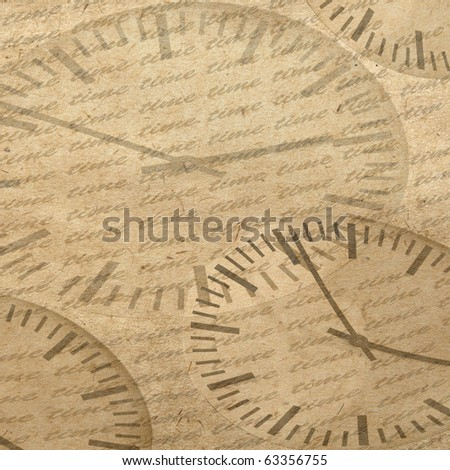 vintage wallpaper background with clock - stock photo