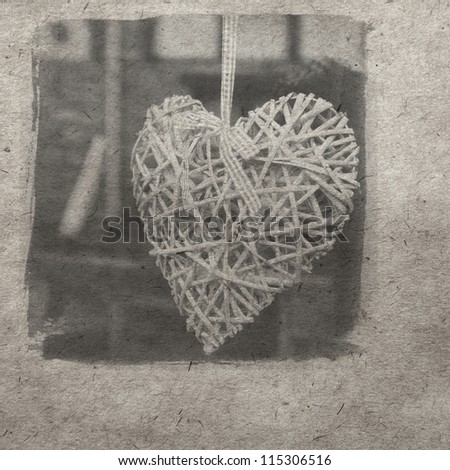 vintage wallpaper background with heart - stock photo