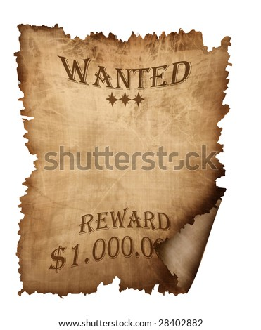 vintage wanted paper isolated on a white background