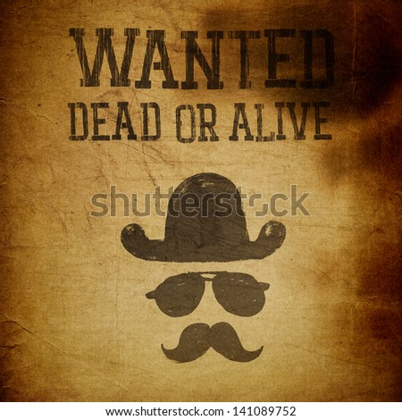 "Vintage ""Wanted..."" poster, grunge illustration - stock photo"