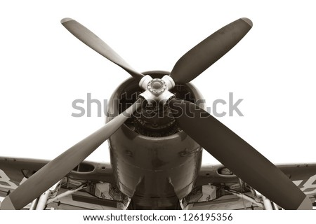 Vintage war plane isolated on white background ( world war II ) - stock photo