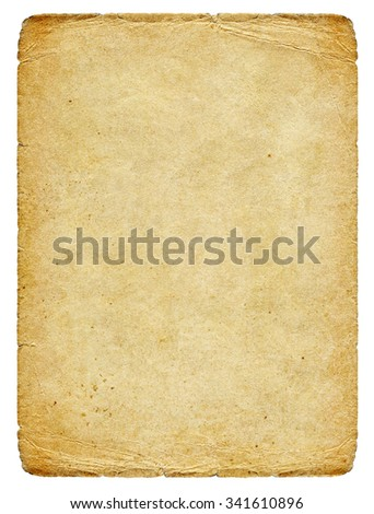 Vintage warm paper blank with torn edges and old spots isolated on white background.