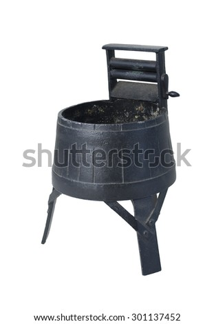 Vintage Washing Machine with Squeezing Rollers - path included - stock photo