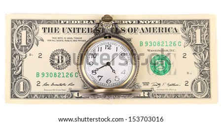Vintage watch and dollars - stock photo