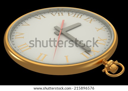 vintage watch. isolated on a black background. 3d