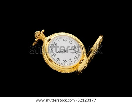 Vintage watch isolated on black background - stock photo