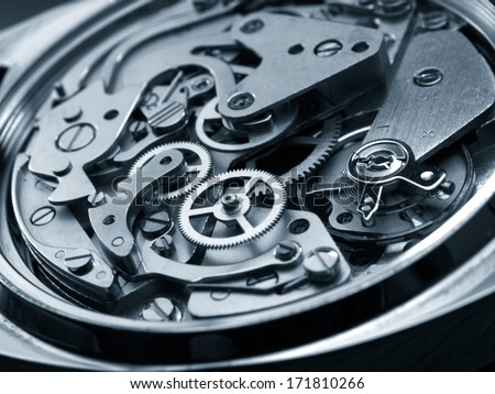 vintage watch machinery macro detail monochrome - stock photo