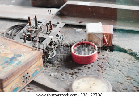 Vintage watch makers tools - stock photo