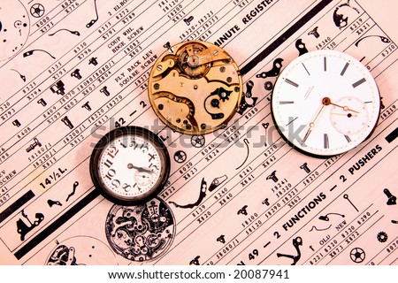 Vintage watch movements on vintage watch parts list.