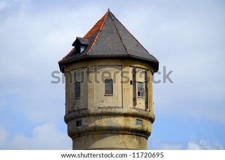 vintage water tower of an old coal mine - stock photo
