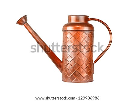 Vintage watering pot, isolated on white background - stock photo