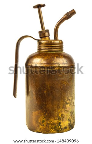 Vintage weathered oil can with handle isolated on a white background - stock photo
