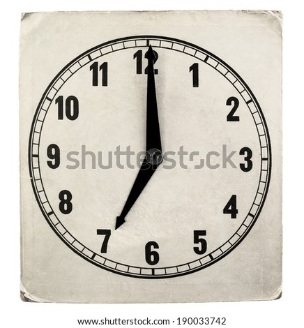 Vintage weathered paper clock face isolated on a white background - stock photo