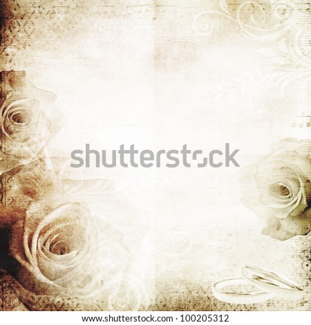 vintage wedding background with roses - stock photo