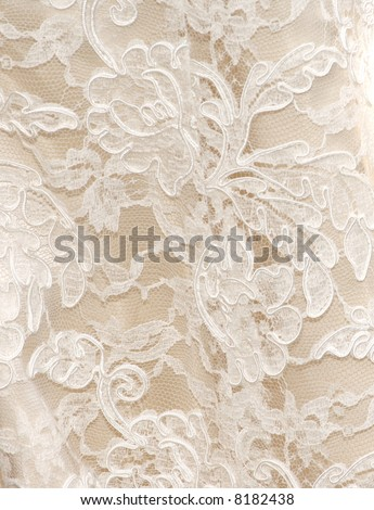 Vintage wedding dress lace in white for background texture - stock photo
