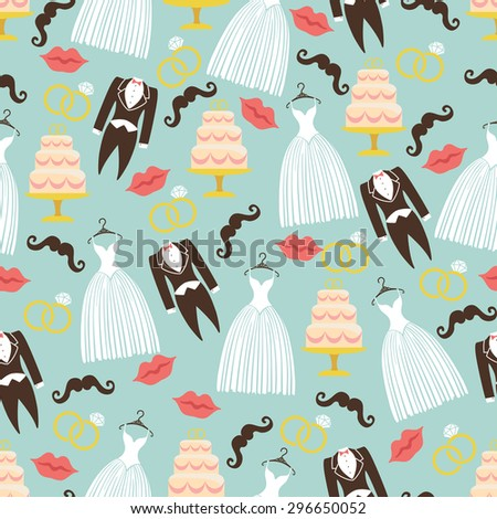 Vintage wedding flat symbols in seamless pattern.Wedding icon from groom coat,bridal dress,lips, mustaches, rings,cake.Modern Flat Design.For wrap, backdrop,fabric, wallpaper, background. Illustration - stock photo