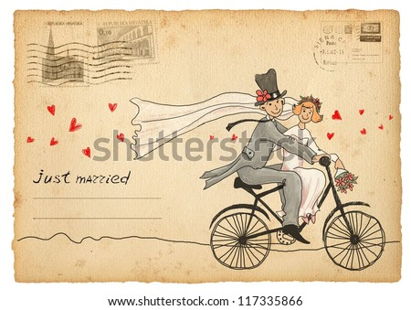 Vintage wedding greetings card. Groom and bride on a bicycle - stock photo
