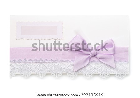 Vintage wedding invitations card isolated on white - stock photo