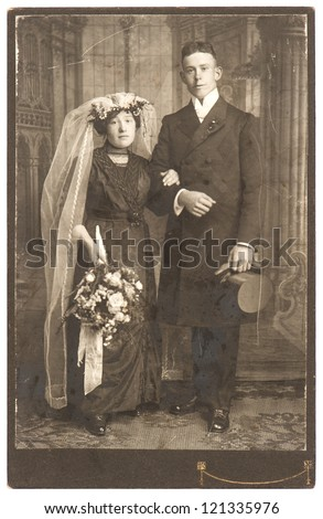 vintage wedding photo. just married couple circa 1910. nostalgic picture - stock photo