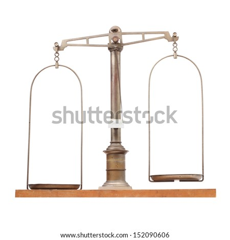 Vintage weight scale for laboratory. - stock photo