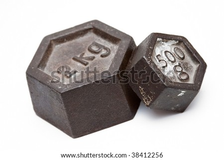 Vintage weights - stock photo