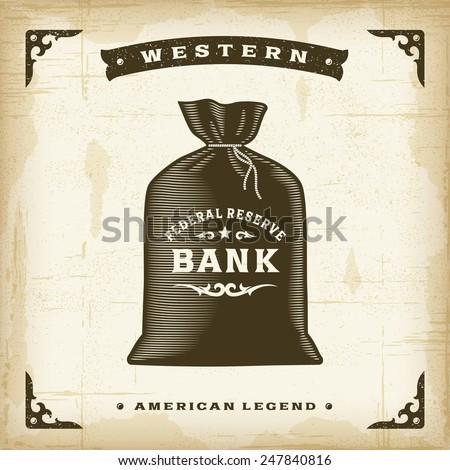Vintage Western Money Bag - stock photo