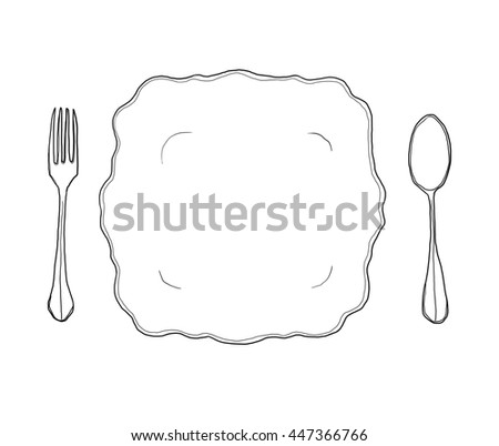 vintage white dish plate fork and spoon hand drawn line art cute illustration - stock photo