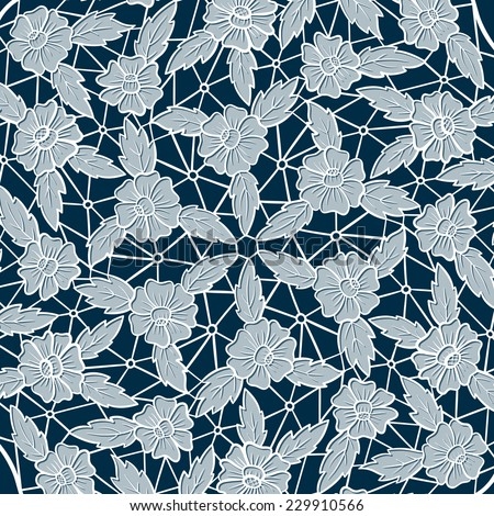 Vintage white lace on blue background. Raster version. - stock photo