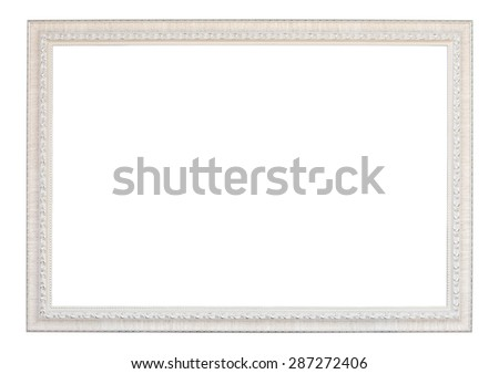 vintage white wood frame on white background (with clipping path)