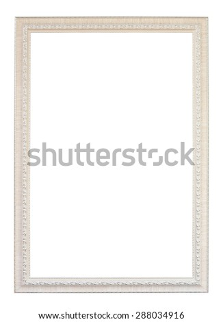 vintage white wood frame on white background (with clipping path) - stock photo