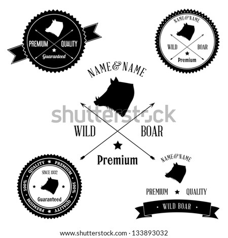 Vintage Wild Boar Badge set - stock photo