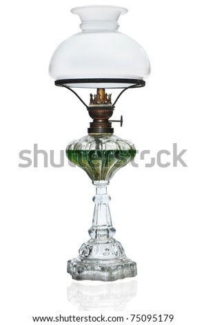 vintage wind up gas lamp isolate on white - stock photo