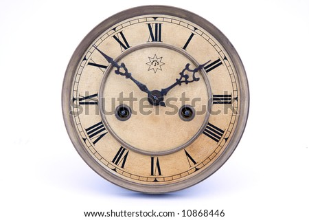 vintage wind up wall clock made by J.Unghans in the early 1900s - stock photo